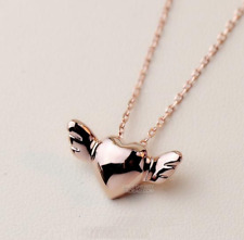 Angel Wing Love Heart Rose Gold GP Stainless Steel Pendant Chain Necklace