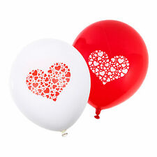 White & Red 'Mini Hearts' Valentines Day / Wedding Balloons (24 Pack)
