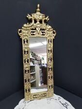 Antique Brass Mirror with Navy Warfin Dolphin Motif