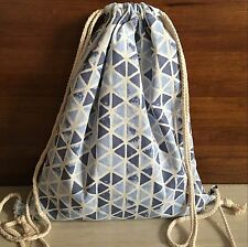 Cotton Linen Drawstring Travel Backpack Student Bag Blue Triangle Geometry S