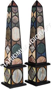 "24"" Black Marble Decorative Obelisks Mosaic Handmade Pietra Dura Inlaid E514B"