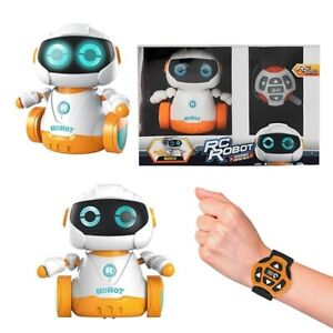 Interactive Toy Robot With Watch Remote Control Sounds Lights Spins Around