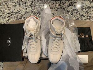 Coach Leatherware Q8914 New Tennis Shoes White Fur High Top Strap Size 5.5B HANA