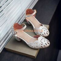 Mary Janes Retro Women SHoes Hollow Out Round Toe Ankle Strap Low Block Heel SZ