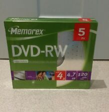 Memorex 5 x DVD-RW 4.7 GB  120min  4x slim jewel case storage media rewritable
