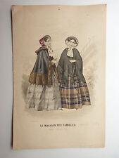 GRAVURE MODE COULEUR 19e siècle  LE MAGASIN DES FAMILLES 1852/53