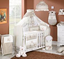 Baby Bettwäsche Bettset mit Stickerei A 7tlg für Kinderbett 70x140  Moskitonetz