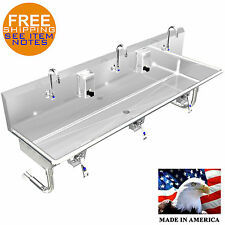 "HAND SINK 3 PERSON MULTI USER 60"" HANDS FREE KNEE OPERATION NO SOAP DISPENSER"