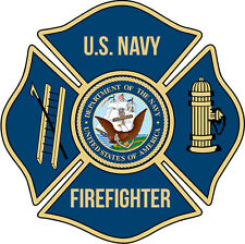 "U.S. Navy Firefighter 4"" Window Decal/Sticker"