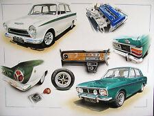 FORD Cortina 1600e Rostyle Minilite RUOTE TEAK Dash & Lotus Twin Cam