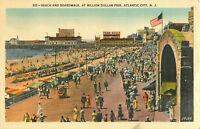 Postcard Beach And Boardwalk, Million Dollar Pier, Atlantic City, NJ Posted 1949