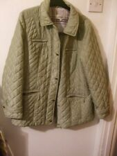 MARKS & SPENCER CLASSIC QUILTED COAT SIZE 16 'FAWN' ZIPPED POCKETS