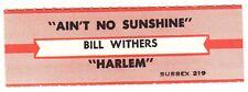 Juke Box Strip BILL WITHERS - AIN'T NO SUNSHINE / HARLEM