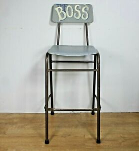 Vintage Remploy stool chair hand painted THE BOSS lab laboratory studio workshop