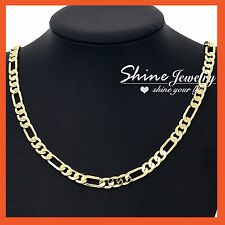 24K GOLD GF MENS WOMENS SOLID DIAMOND CUT CURB RING FIGARO CHAIN NECKLACE 52CM