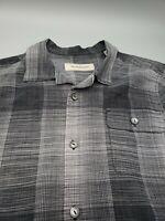 Tommy Bahama Men's Medium 55% Silk 45% Cotton Button Up Gray Short Sleeve M