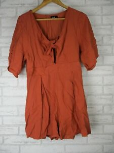 Dotti Playsuit, Jumpsuit 14 brown solid short sleeves tie front V-neck