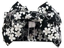 Japanese Yukata Kimono Pre-tied Obi  Black / cherry ribbon NEW MADE IN JAPAN F/S