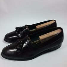 VINTAGE Men's Stafford Tassel Slip-on Loafers Shoes Cordovan Leather-ITALY-9.5 D