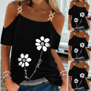 Womens Flower Print T-shirt Chain Strappy Cold Shoulder Tops Short Sleeve Blouse