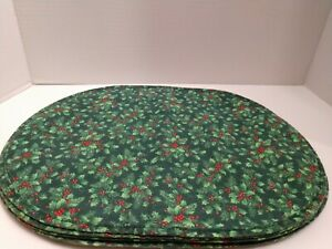 Handmade Christmas Holly Berry Evergreen Placemats Set Of 4 Oval