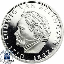 Deutschland 5 DM Silber 1970 Spiegelglanz Ludwig van Beethoven in Münzkapsel