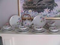 Krautheim Selb Bavaria Teeservice Porzellan mit Blumen für 6Personen  21Teilig