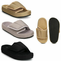 Womens Ladies Girls Chunky Adjustable Strap Comfy Flat Sliders Sandals Shoe Size