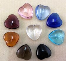 Oddments -  50gms Large Glass Puff Heart Pendant Beads - 9 Assorted Colours