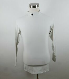Under Armour Mens Stretch LS Mock Neck Solid Off White Compression Shirt Size XL