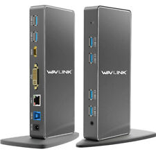 Wavlink USB3.0 Universal Docking Station Dual Monitor Display HDMI & DVI/VGA