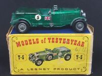 Rare Matchbox Yesteryear Y5-2 No. 1 1929 Bentley *Apple/Candy Green & Green Hood