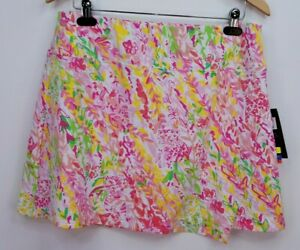 IBKUL Pull On Faux Wrap Golf Skort, Womens Size L, Pink Multi Print, NEW, TM6012