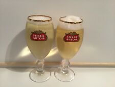 2 X NEW STELLA ARTOIS STEMMED CHALICE PINT GLASSES -FULLY NUCLEATED-COLLECTABLE