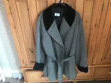 NEW LADIES LACOSTE Double Breasted JACKET COAT Grey Padded Lining Velvet Collar