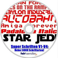 SUPER SCHRIFTEN V1-V4 Paket Über 6000 Schriftarten für den PC Fonts Star Wars CD