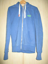 mens SUPERDRY BLUE COTTON ZIP FRONT HOODIE SIZE SMALL
