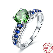 Gift Heart Cut Emerald & Sapphire 100% 925 Sterling Silver Ring Size L½ N½ P½ R½