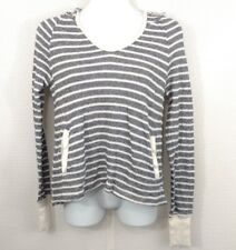 Women's ROXY Striped Pullover Hoodie Top Size S Black Cream V-Neck Long Sleeve