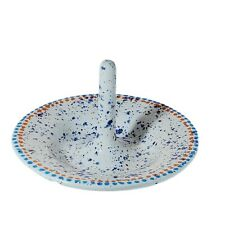 "Ring Holder Spatter Painted Ceramic Jewelry Ring Dresser Dish Handmade 2"" Tall"
