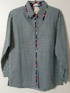 COCKATOO COUNTRY Womens M Check/Floral Shirt Shoulder Pads Vintage but New