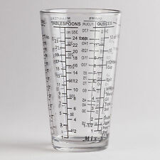 Mix-N-Measure Glass Bartender's 2-Cup Measuring Beaker Cup, Clear Glass, New!