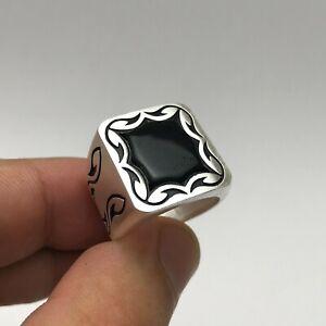Argun Jewellery Black Onyx New White Cool 925K Sterling Silver Men's Ring