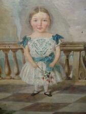 SUPERB NAIVE / PRIMITIVE PORTRAIT OF YOUNG GIRL - 1860 - VICTORIAN Superb