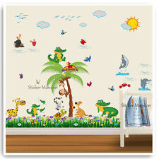 Animal Wall Stickers Crocodile Dolphin Jungle Nursery Baby Room Decal Vinyl Art