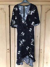 Dorothy Perkins Azul Marino Floral Vestido Midi Talla 16 Verano Boda Volante
