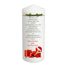 Personalised Christmas Candle Secret Stocking Gift Keepsake Poem Large