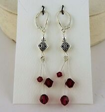 Silver Celtic Knot Lever back Earrings Ruby Swarovski Crystal beads