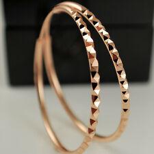 9ct Rose Gold Filled 40mm Endless Patterned Diamond Cut Hoop Earrings UK 11