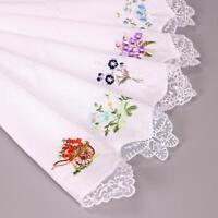 Cotton Handkerchief Napkin Embroidered Women's Lace Flower Hankies 5PCS Vintage